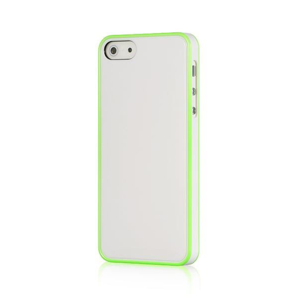 FOR IPHONE 5 / 5S / SE UV WHITE PC W/ GREEN TRIM