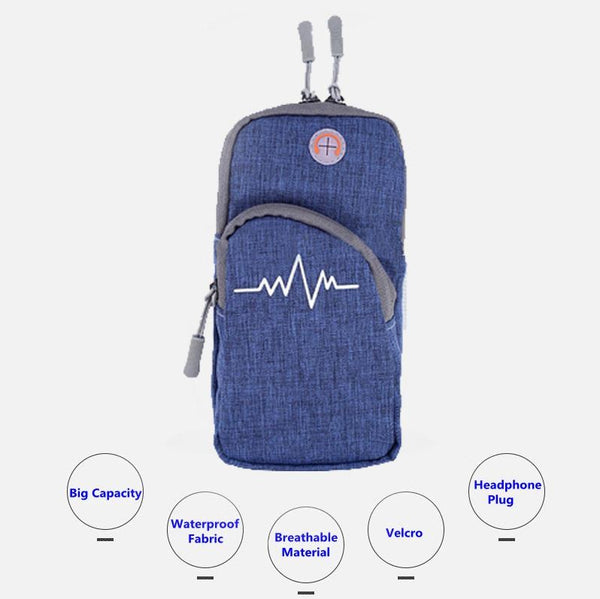 SimplyASP Tech Universal Sports Armband Canvas Pouch w/ Secured Zipper Blue