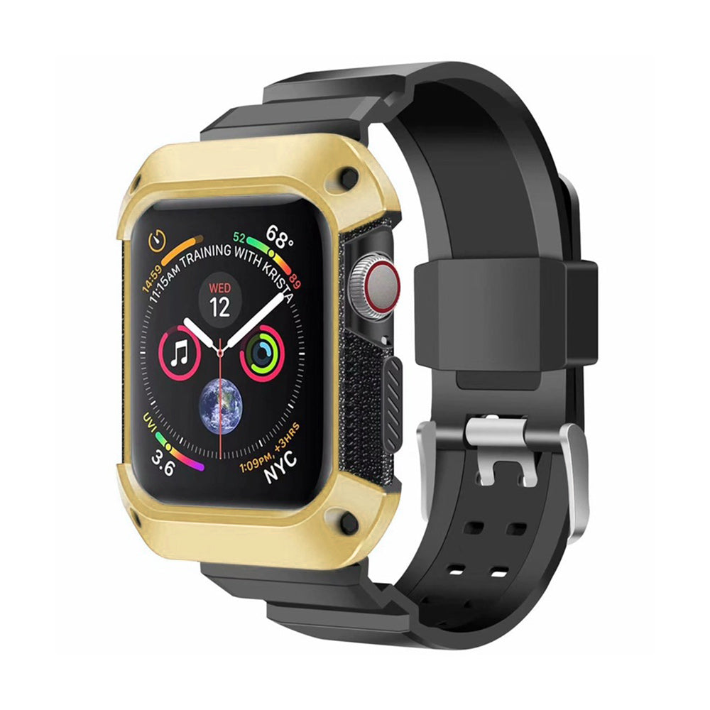 ALL IN ONE SOFT SILICONE PROTECTION CASE WRISTBAND BRACELET FOR 44MM IWATCH SERIES 5 / 4 - GOLD
