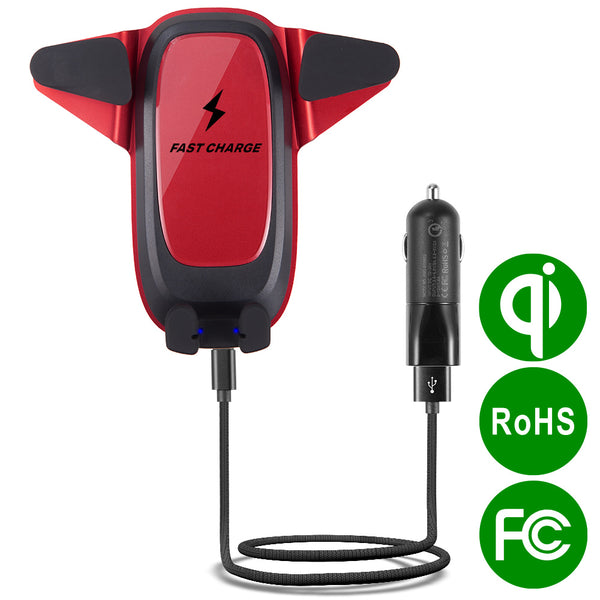 AIR VENT MOTORIZED CAR WIRELESS CHARGER MOUNT, 10W QI CERTIFIED FAST CHARGING WITH QC3.0 USB CAR CHARGER, BLACK / RED