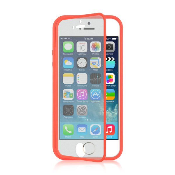 FOR IPHONE 5 / 5S / SE WRAP-UP W/SCREEN PROTECTOR CASE RED