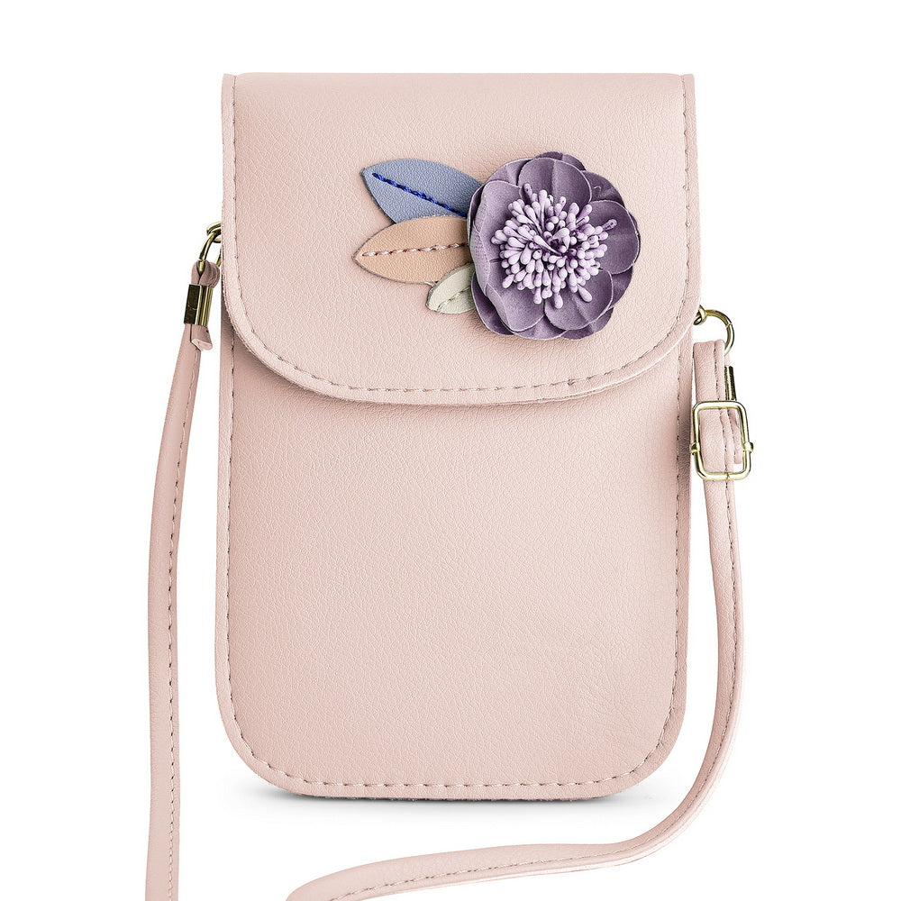UNIVERSAL FASHIONABLY CHIC SOFT LEATHER CROSSBODY BAG WITH 3DFLOWER DECOR, TWO COMPARTMENTS AND SHOULDER STRAP - LIGHT PINK