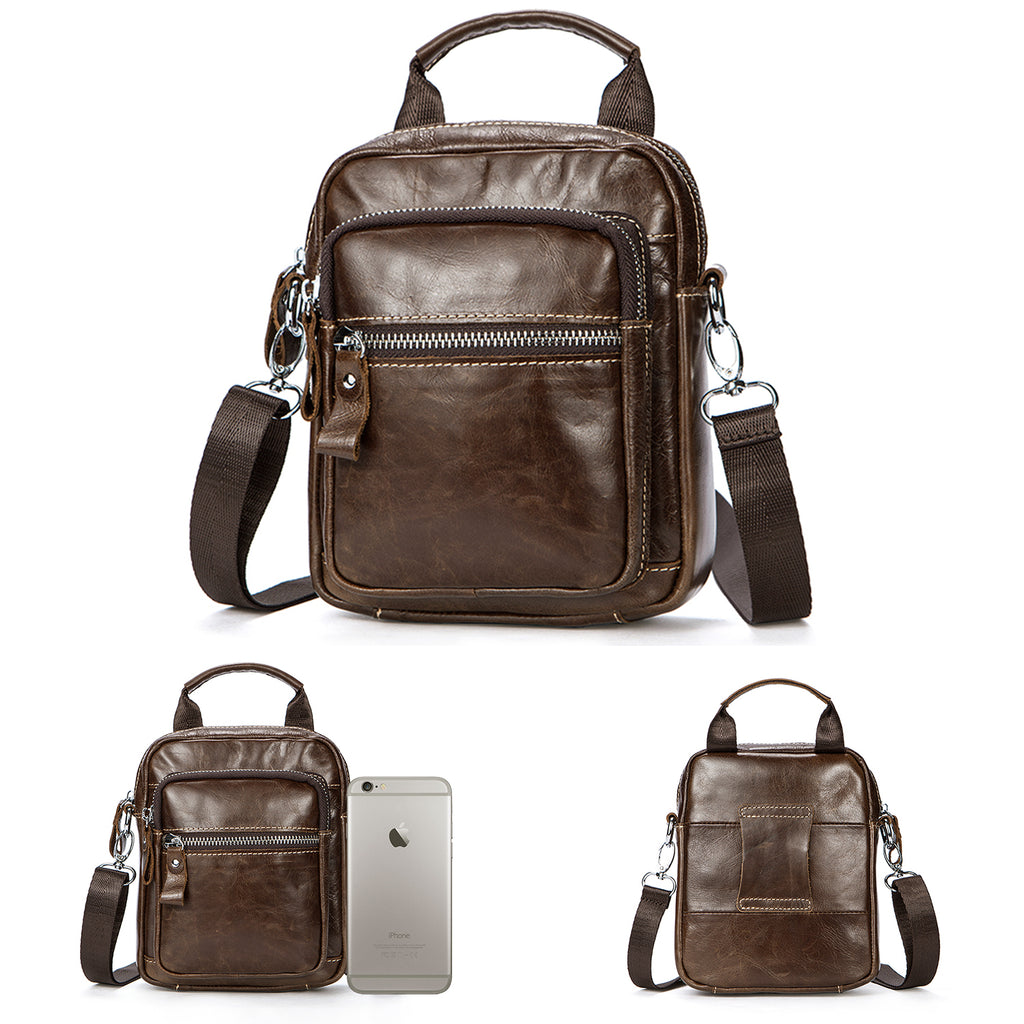 PREMIUM LEATHER CROSSBODY BAG SHOULDER MESSENGER BAG FOR MEN BUSINESS PACK WALLET PHONE PURSE - BROWN
