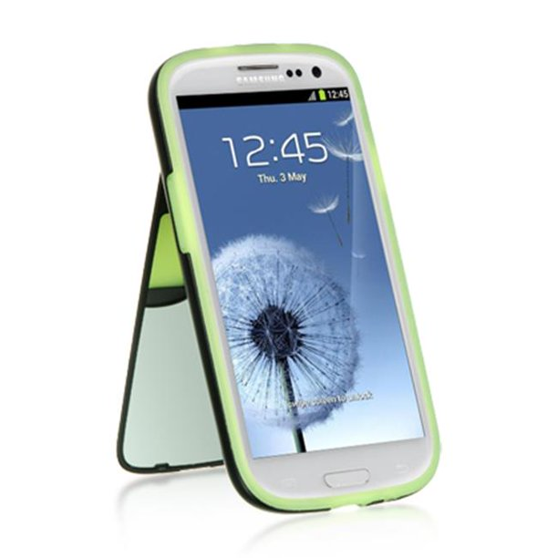 SAM S3 FLIP MIRROR/STAND CARD CASE NEON GREEN SKIN+BLAC
