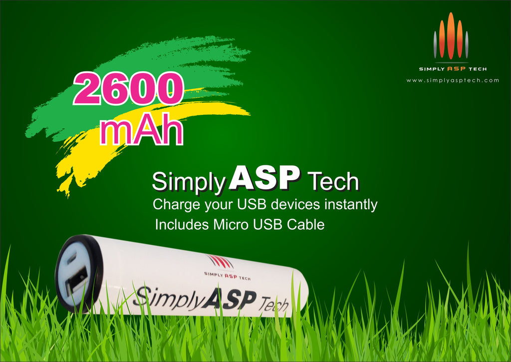SimplyASP Tech Mini 2600mAh Ultra-Compact Portable Charger - SimplyASP Tech