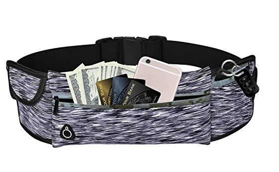 Adjustable Running Waist Pack w/ 3 Pockets, Zipper, Water Resistant for Hiking , fits All Smartphones - SimplyASP Tech