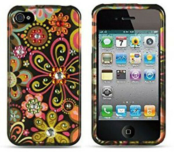 Spot Diamond Case for iPhone 4/4S - Silver Spring Flower