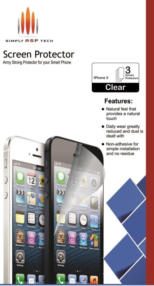 SimplyASP Tech Army Strong 3 Pack of Screen Protectors for Apple iPhone 5/5c/5s - SimplyASP Tech