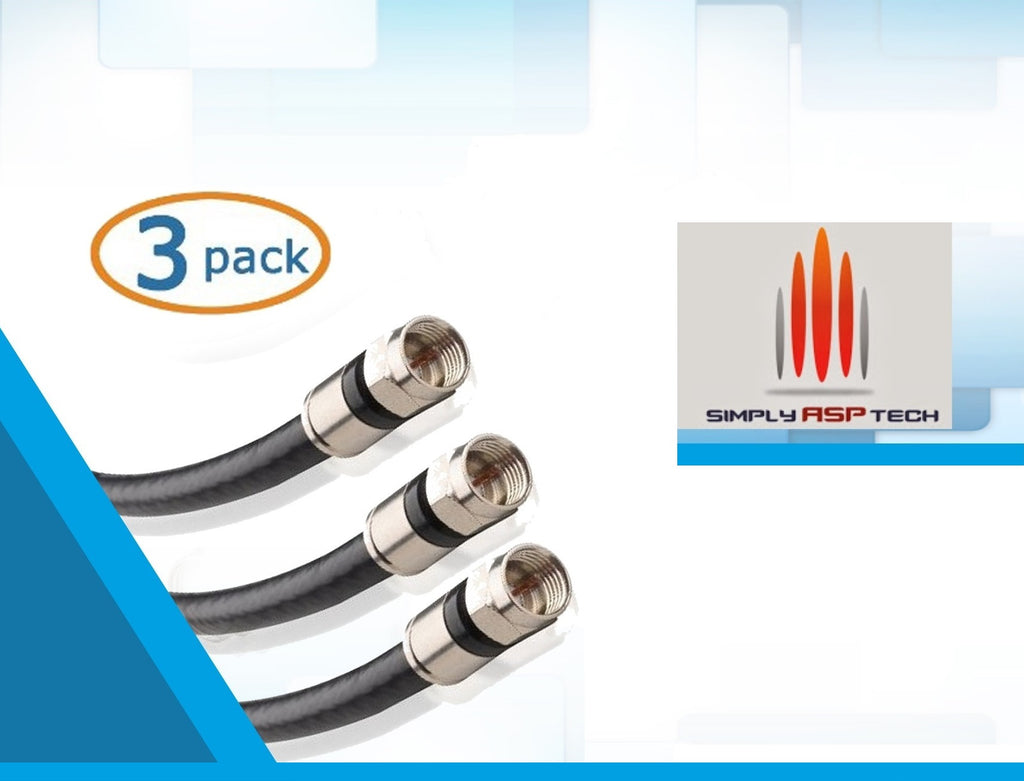 SimplyASP Tec 3-Pack, Quad Shielded RG6 Coaxial Patch Cable in Black 3 Feet - SimplyASP Tech
