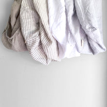 Load image into Gallery viewer, SINGLE + KING SINGLE NATURAL STRIPE FITTED SHEET -PREORDER ETA APRIL