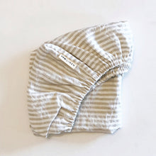 Load image into Gallery viewer, COT SIZE NATURAL STRIPE FITTED SHEET