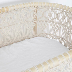 BASSINET WHITE FITTED SHEET