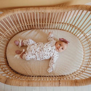 BASSINET NATURAL STRIPE FITTED SHEET PREORDER ETA MARCH