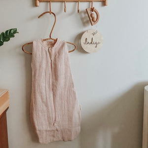 Waffle Swaddle/Sleeping Bag in Blush