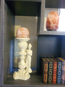 Himalayan Salt Candle Holder With White Lady Stand