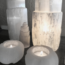 Load image into Gallery viewer, Selenite Cylindrical Tealight Candle Holders (Set of 2)