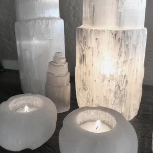 Selenite Cylindrical Tealight Candle Holders (Set of 2)