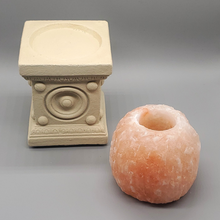 Load image into Gallery viewer, Himalayan Salt Candle Holder White Stand