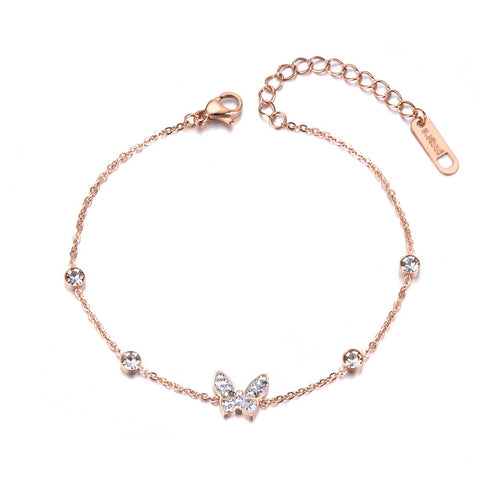 Bracelet papillon cristaux or rose