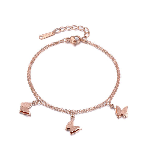 Double bracelet papillon papillon or rose