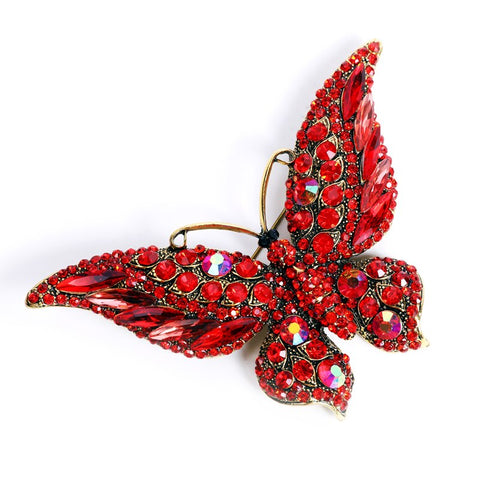 Broche papillon rouge