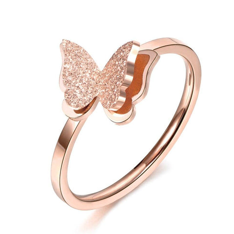 Bague jonc papillon or rose