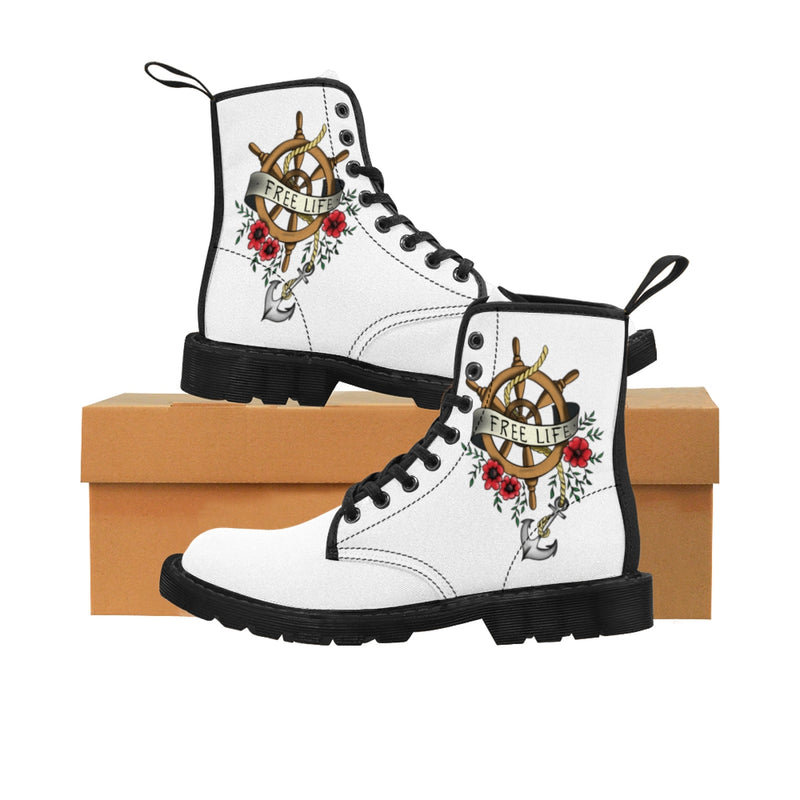 Women's Canvas Boots Tattoo Anker Sailor Free Life Gift