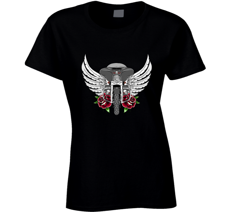 Tattoo Harley wings roses skull Oldschool bike biker gift Ladies T Shirt