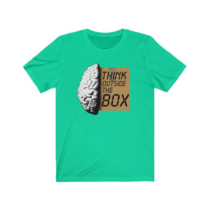 Unisex Jersey Short Sleeve Tee Think Outside the Box Funny Graphic t shirt
