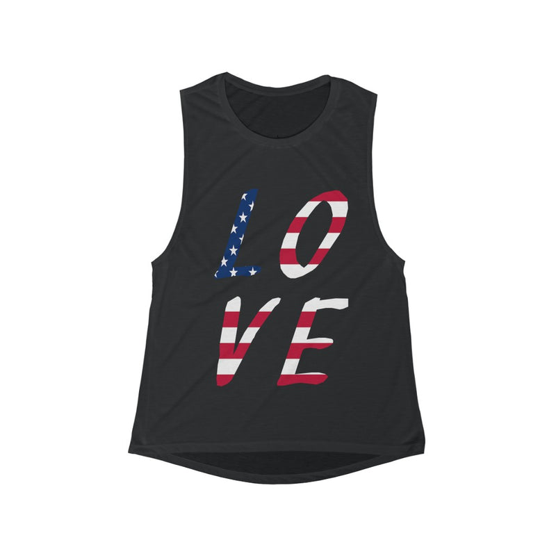 Women's Flowy Scoop Muscle Tank Top Usa Love Amercian Flag America