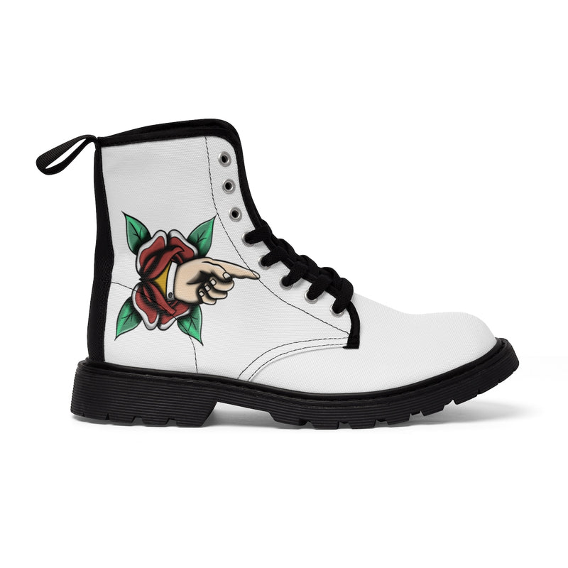 Women's Canvas Boots Tattoo Pointing Finger Gift