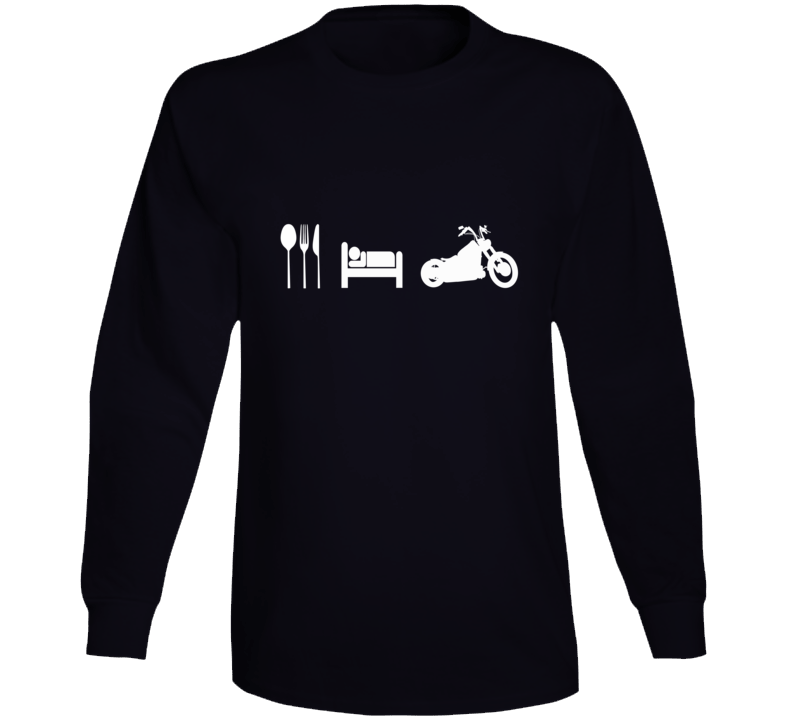 Eat Sleep Ride Bobber Chopper Bike Biker Gift Long Sleeve