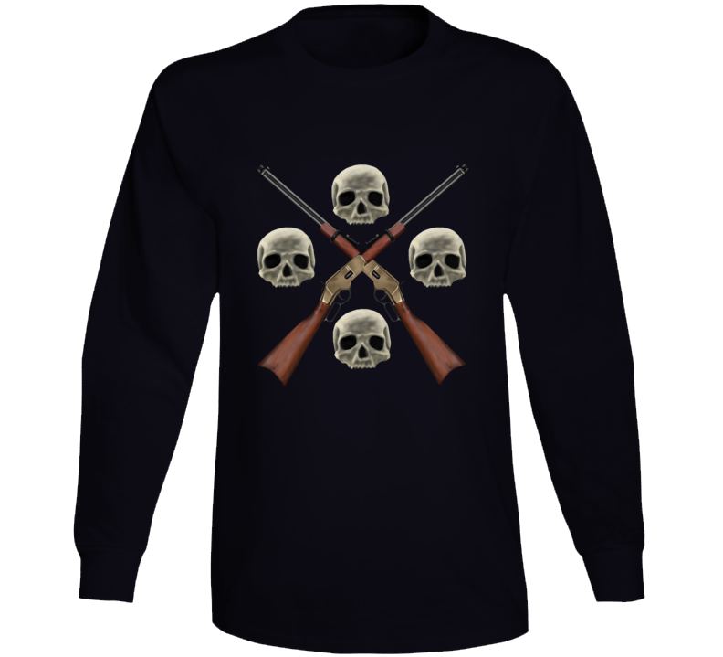 Gun Skull Weapon Western Ranch Arms Love Gift Long Sleeve
