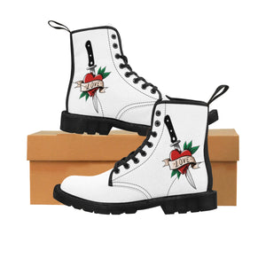 Women's Canvas Boots Tattoo Love Knife Gift
