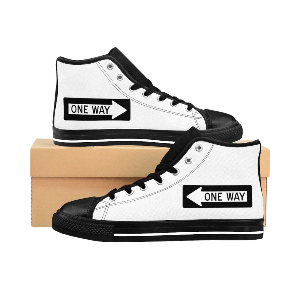 Men's High-top Sneakers One Way Trafficsign Gift