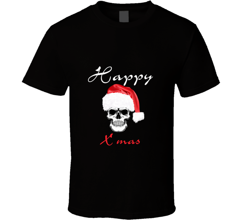 Happy X Mas Christmas Santa Claus Skull T Shirt