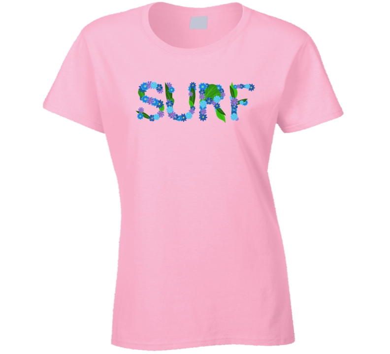 Surf Flower Girl Surfing Wave Gift Ladies T Shirt