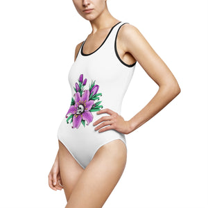 Women's Classic One-Piece Swimsuit Tattoo Flower Skull Gift