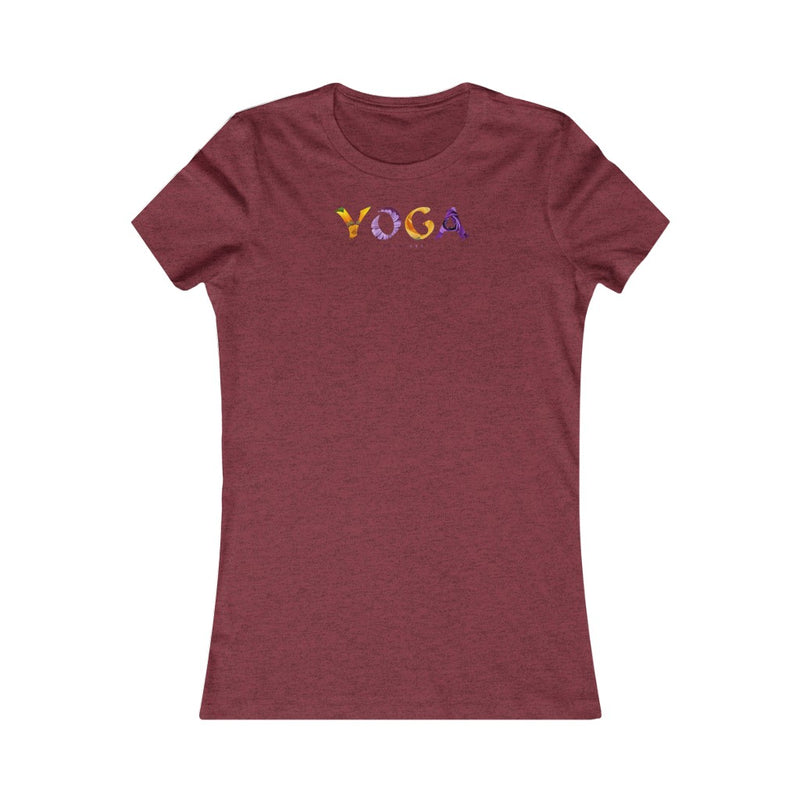 Women's Favorite Tee Yoga Flower Poses Meditation Violet Graphic T Shirt