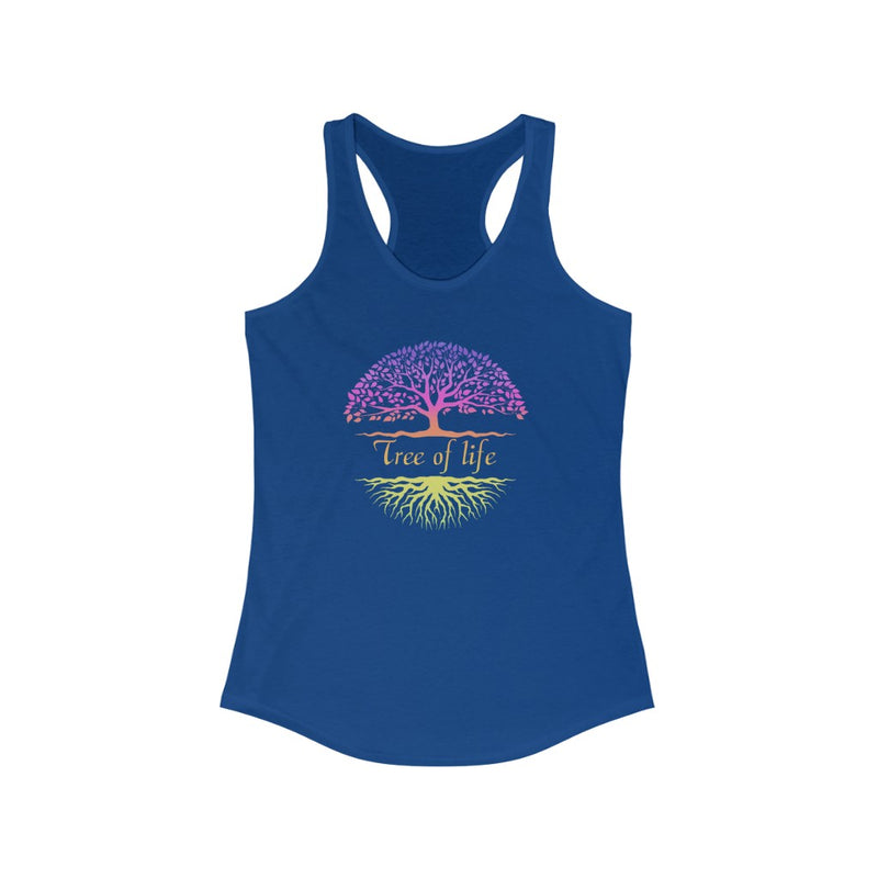 Women's Ideal Racerback Tank Tree of life Yoga Meditation Meditate with Music