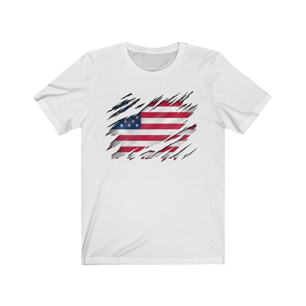 Unisex Jersey Short Sleeve Tee All American Flag Inside Gift T shirt