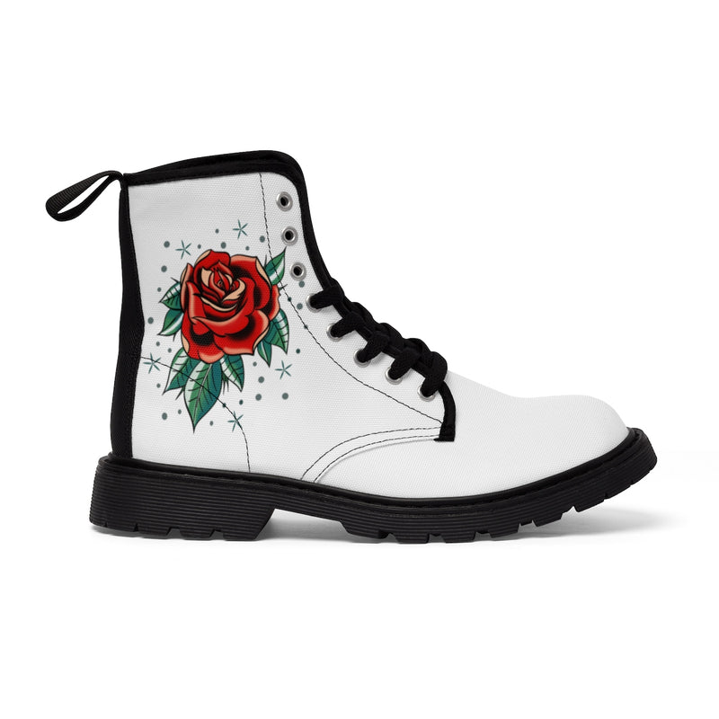 Women's Canvas Boots Tattoo Red Rose Gift