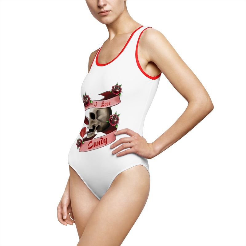 Women's Classic One-Piece Swimsuit Tattoo I Love Candy Skull Lollypop Gift
