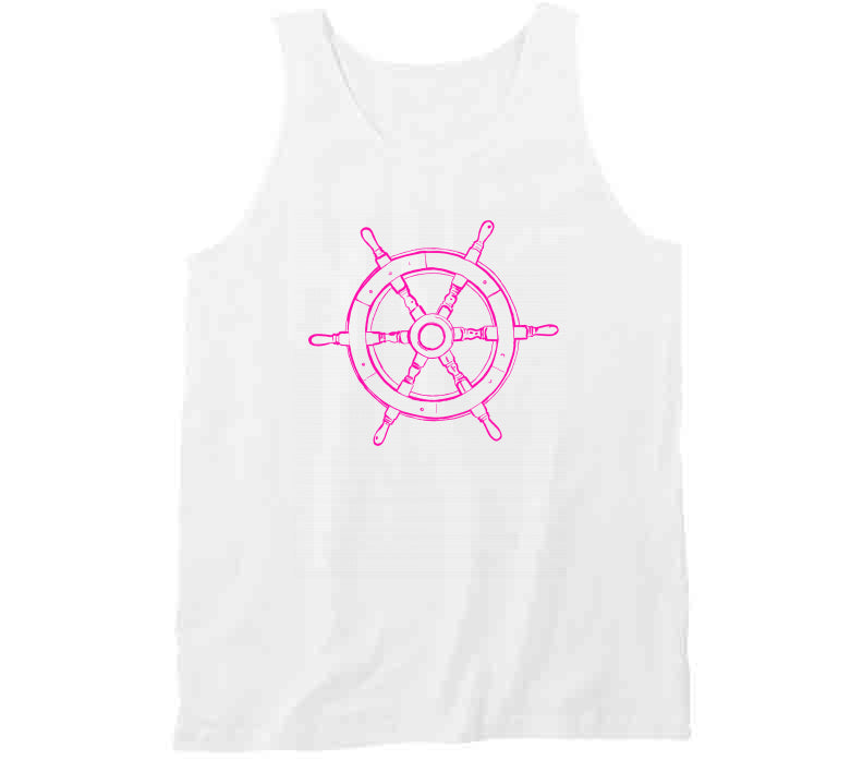 Pink Captian Ship Wheel Lady Sailing Beach Wear Gift Tanktop