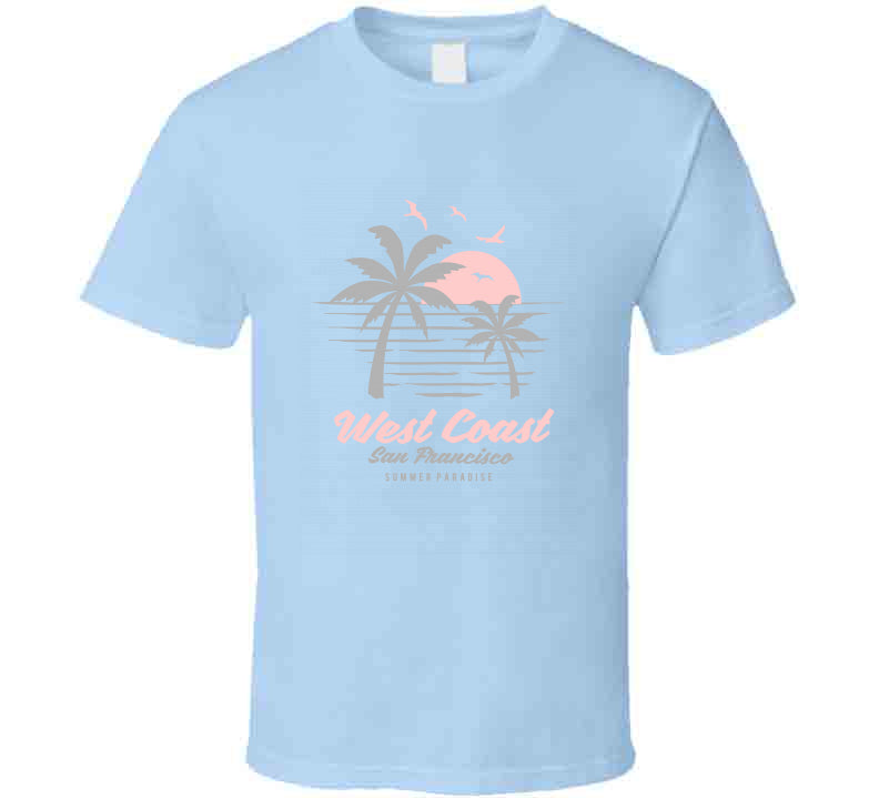 Summer Beach West Coast Paradise Surf Ladies T Shirt
