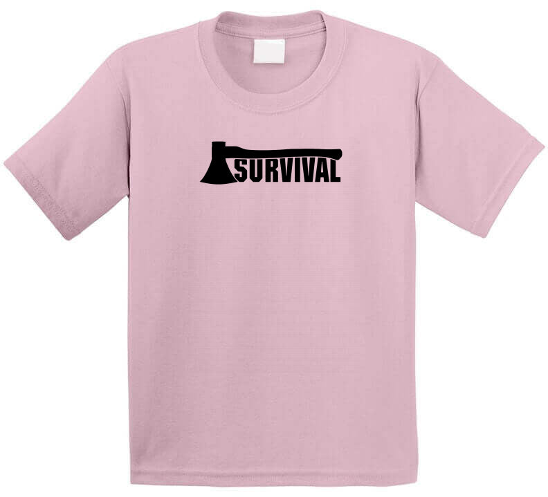 Pink Survival Outdoor Axe Nature Supply Lover Gift Ladies T Shirt