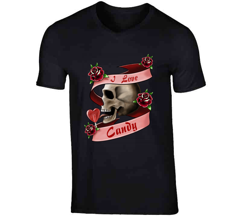 Tattoo I Love Candy Skull Lollypop Rose Ladies T Shirt