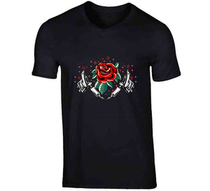 Tattoo Oldschool Gun Red Rose Lover Gift Ladies T Shirt