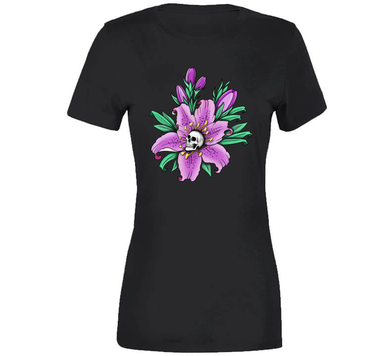 Tattoo Flower Skull Oldschool Inked Lover Gift Ladies T Shirt