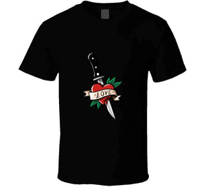 Tattoo Oldschool Love Knife Inked Lover Gift T Shirt